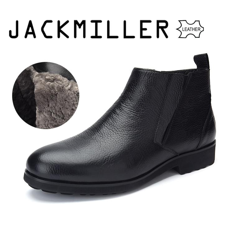 Jackmiller Top marque hiver bottes pour hommes en cuir de vache bottes pour hommes doublure en laine belle et chaude sans lacet facile à mettre couleur noir