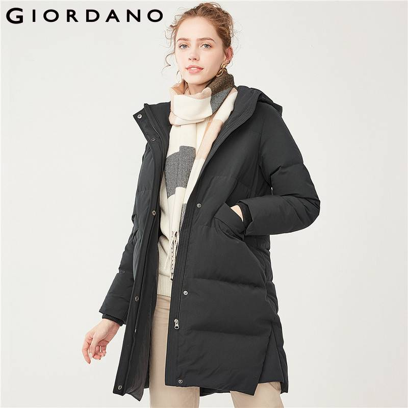 Giordano Women 90 Down Jacket Detachable Hood Long Down Coat For Women Winter Warm Outwear Female