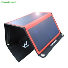 Flexible Solar Panel PowerGreen 21 Watts Dual USB Ports Foldable Solar Power Bank Phone Charger for Hiking for Travelling