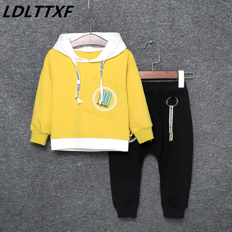 2018 Brand Autumn Boys Girls Children Hoodies Red Yellow Green Letters Clothing Set Childrens Sports Suits Tops+Pants Outfits