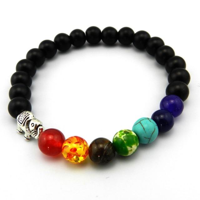 8mm Matte Batu Alam Beads 7 Chakra Reiki Healing Bracelete Feminino Yoga Keseimbangan Gajah Manik Doa Gelang untuk Pria wanita