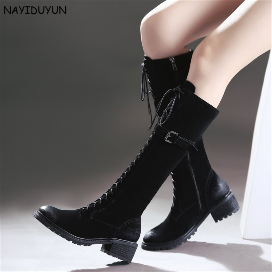 NAYIDUYUN    New Fashion Women Black Lace Up Full Cow Leather Knee High Riding Boots Round Toe Cuban Heels Party Pumps Shoes nayiduyun women genuine leather wedge high heel pumps platform creepers round toe slip on casual shoes boots wedge sneakers