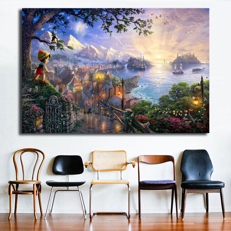 Thomas kinkade pinocchio wishes upon a star hd canvas - Home interiors thomas kinkade prints ...