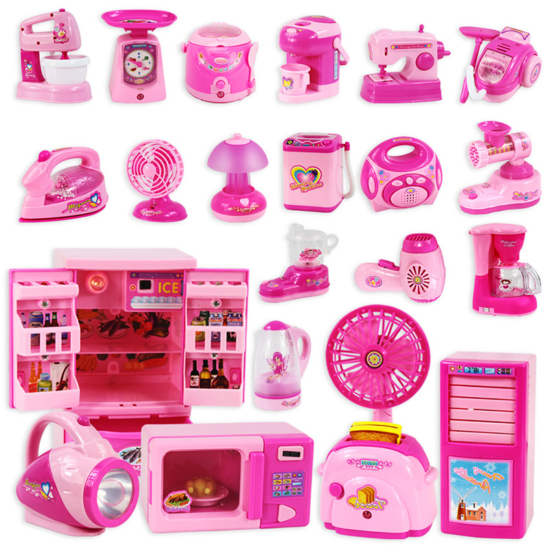 Children's mini kitchen toy set girl simulation electric play house small household appliances toy refrigerator gift 30