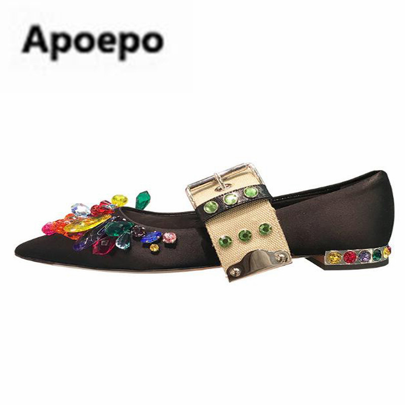 Apoepo brand flat shoes women 2018 spring Luxury Diamond Satin mary janes shoes pointed toe metal decor ladies shoes Low price apoepo brand mary janes shoes pointed toe butterfly knot decor flats shoes women red pink sweet single shoes for girls newest