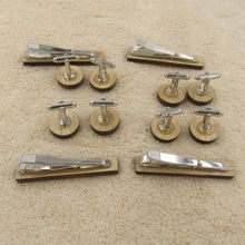 Wooden Cufflink and Tie Clip Set