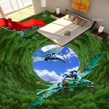 beibehang Forest blue sky 3D floor painting wall mural painted Dinosaur wallpaper mural,wallpaper for walls 3 d,papel de parede(China)