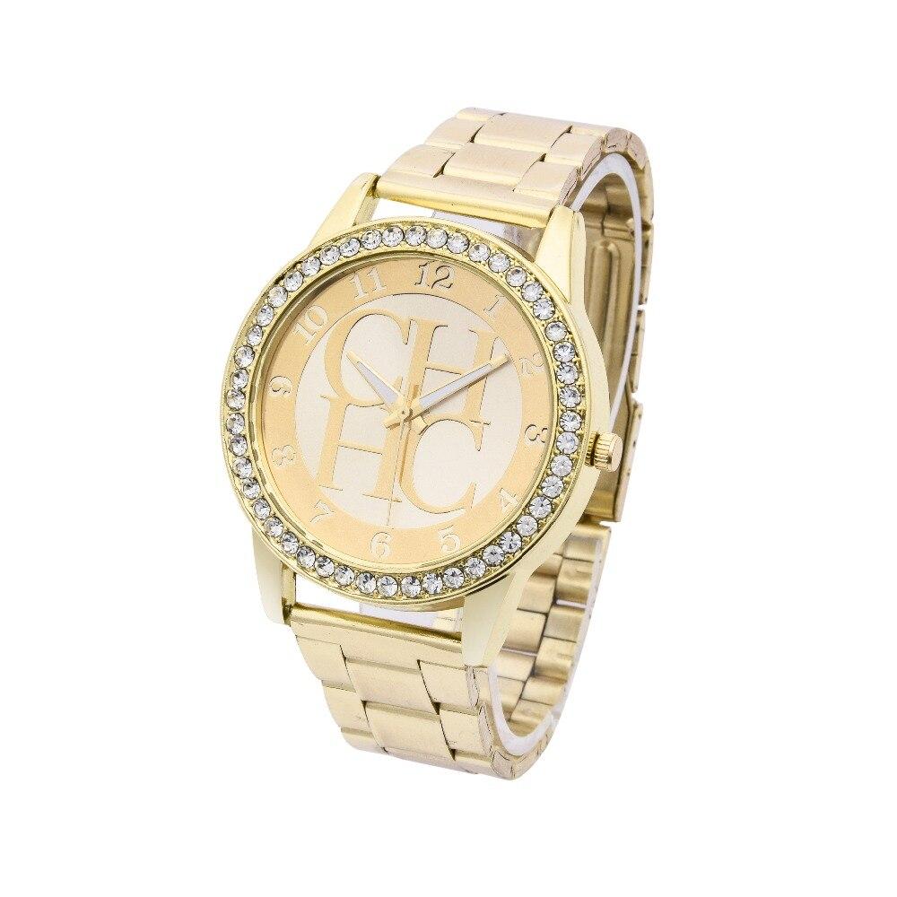 Relogio Feminino 2017 Nytt Märke Känd Gold Crystal Casual Quartz Watch Kvinnor Stainless Steel Klänning Klockor Hot Reloj Mujer