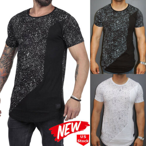 New Fashion Stylish Men's Short Sleeve Sequined Stitching O-neck Tee T-shirt Men Summer Casual Tops Slim Fit Clothing M-XXXL