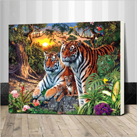 Europe Home Decoration Tiger Family DIY Canvas Oil Painting Framed Pictures Painting By Numbers Wall Art