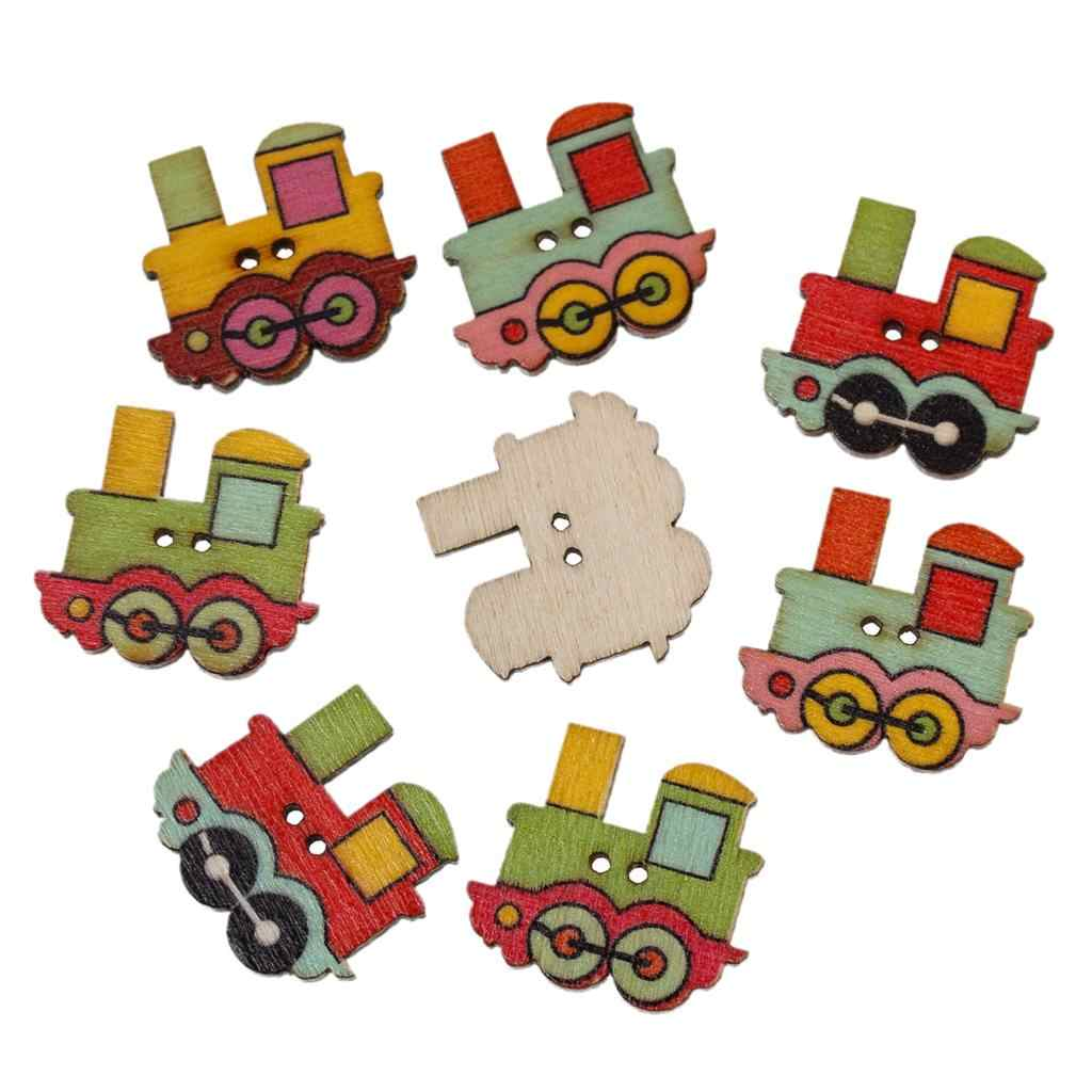 "Ahşap dikiş düğme Scrapbooking lokomotif rastgele iki delik 25mm (1 "") x 22mm (7/8 ""), 9 adet"