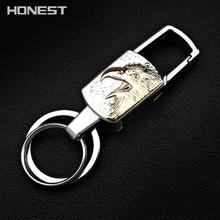 Brand HONEST High-End LED Function Men Keychain Bag Pendant Enamel Inlay Art Car Key Chain Ring Holder Jewelry