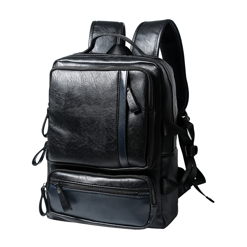 ФОТО Newest Men's Leather Backpack Schoolbag Fashion Solid Leather Backpack men Large capacity Travel Laptop Backpack mochila 2017