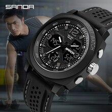 SANDA brand men's fashion sports watch men's LED waterproof