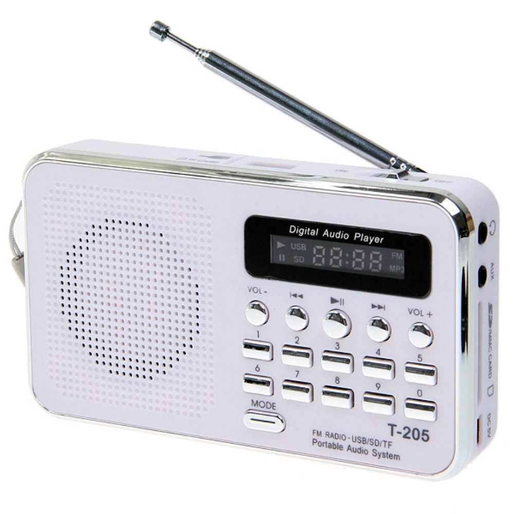 T-205 Mini Portable FM Radio Rechargeable Digital LED MP3 Speaker Player Support TF SD Card Playing AUX Input Loudspeaker