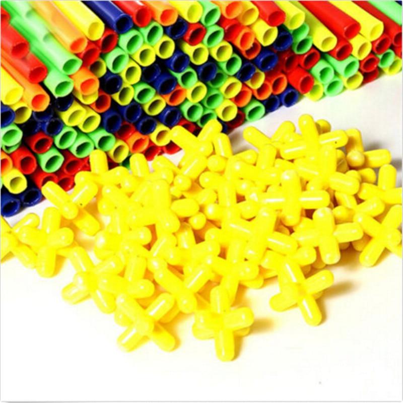 100pcs Building Toy Straws /& Connectors Kits Set Play Kids Gift Development Toys