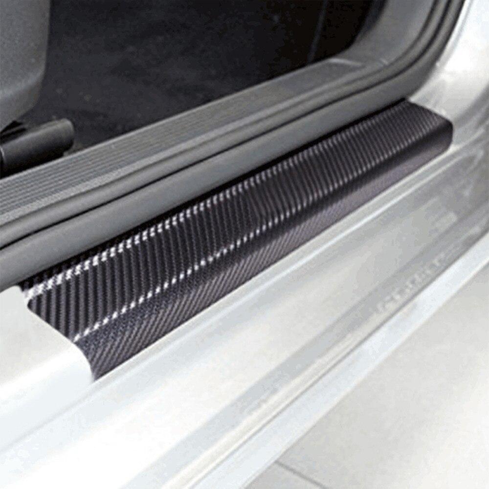 Carbon Fiber Car Sticker Door Plate Sticker Films 3D/4D Door Sill Scuff Cover Protector 4 Pcs yi 221 door guard protector decorative sticker for auto car white 4 pcs