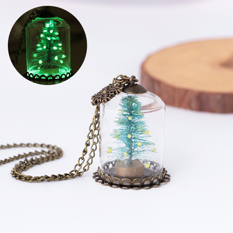 Crazy Feng Fashion Christmas Tree Pendant Necklaces Jewelry For Women Glowing Glass Cup Long Necklace Bijoux Luminous Bijoux