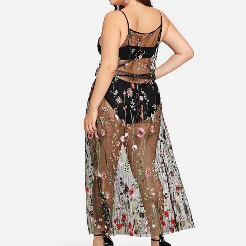مثير المرأة حجم كبير الصيف التستر شير الدانتيل شبكة الأزهار التطريز طويلة الأكمام كيمونو فستان الشاطئ كوفير الأبيض Blusas