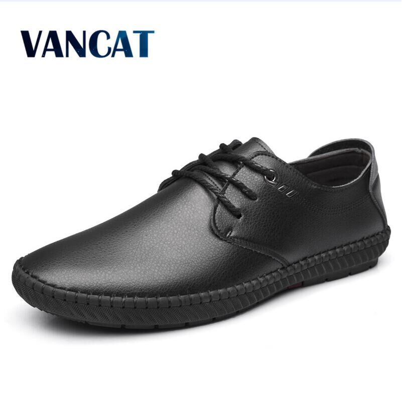 VANCAT Brand Mens Casual Shoes Handmade Split Leather Men Flats Lace Up Men Loafers Moccasins Men Shoes Designer Footwear