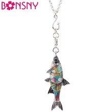 Bonsny массивная Макси металлическая эмаль пресноводная подвеска-рыба на ожерелье цепочка воротник чокер океан животное ювелирные изделия для женщин Девушка