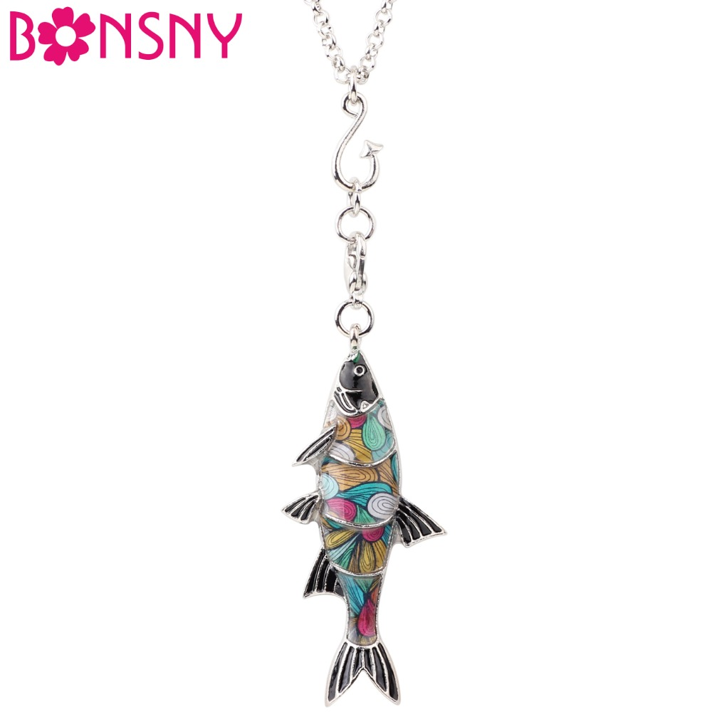 Bonsny Statement Maxi Metal Enamel Freshwater Fish Necklace Pendant Chain Collar Choker New Ocean Animal Jewelry For Women Girl