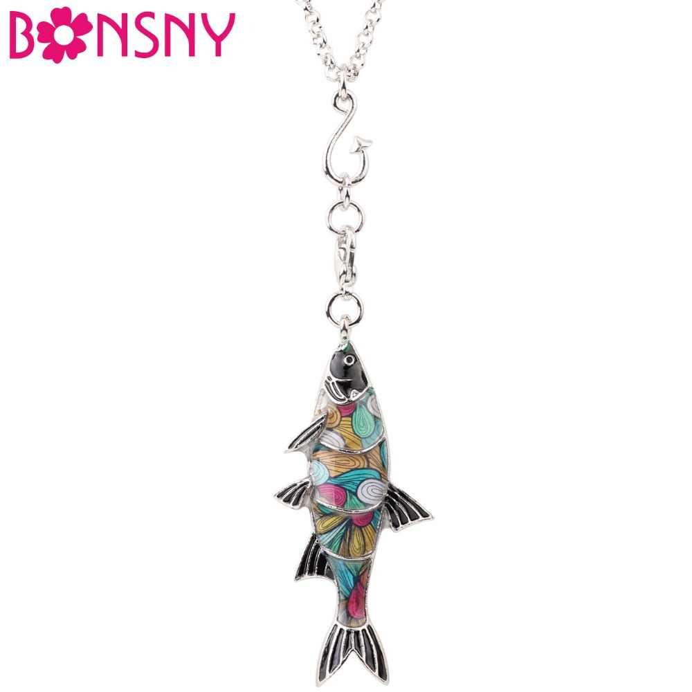 Bonsny מקסי מתכת אמייל דגי מים מתוקים שרשרת הצהרת קולר צווארון שרשרת תליון תכשיטי בעלי החיים אוקיינוס חדש לנשים ילדה