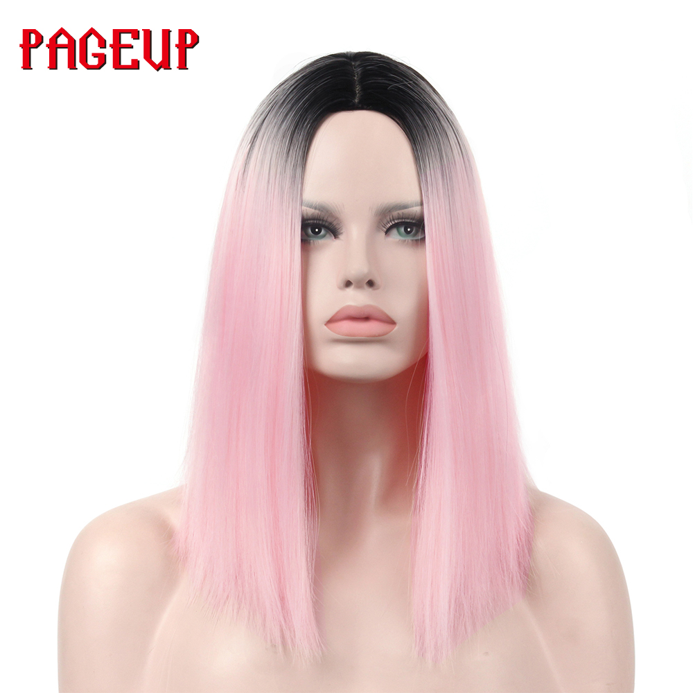 us $11.88 46% off|pageup straight black and pink two tone wig hairstyles heat resistant synthetic wigs for women long female wigs women-in synthetic