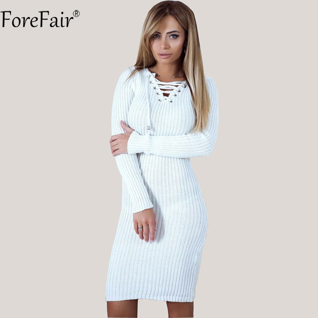 aa18e663402c5f ForeFair sznurowany sweter sukienka kobiety jesień z długim rękawem Midi  Boycon sukienka zima damskie sukienki z