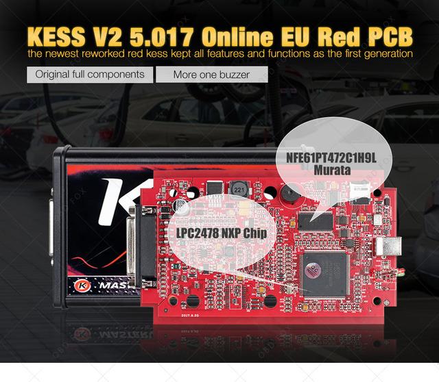 KESS V2 V5.017 Online V2.47 EU Red OBD2 Manager Tuning Kit KTAG V7.020 4 LED Master Version K-tag V2.25 BDM ECU Programmer