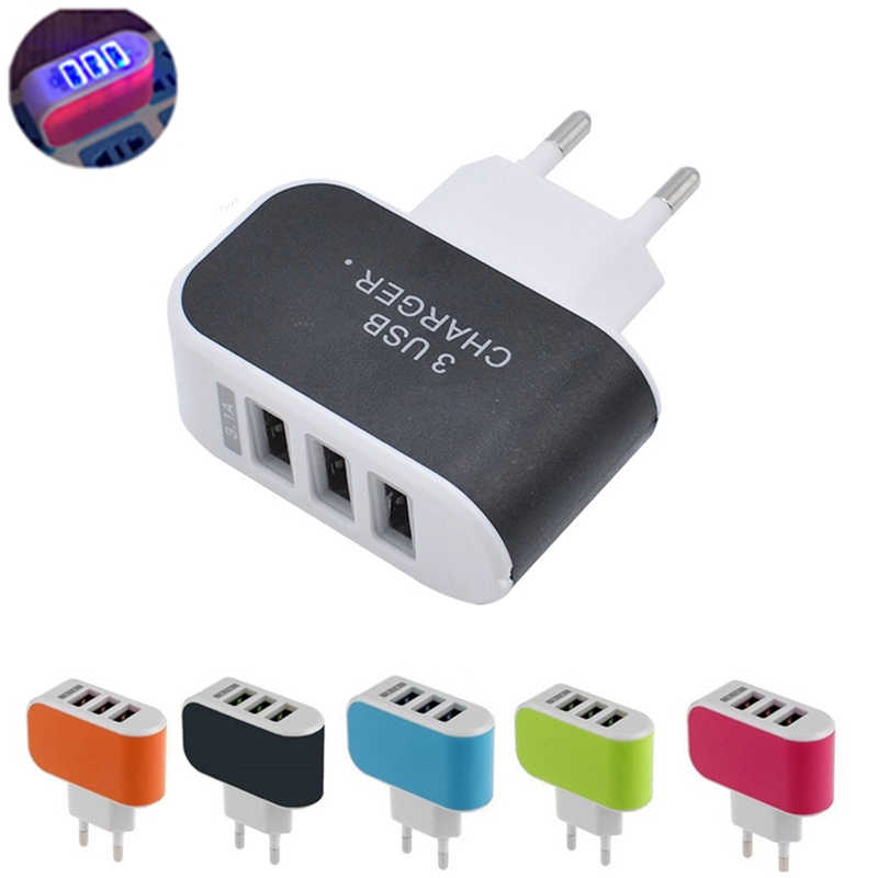 Baru 3 Port USB Charger 3A Portable Mobile Phone Charger Perjalanan USB Dinding Charger untuk Iphone Samsung LG Huawei Xiaomi