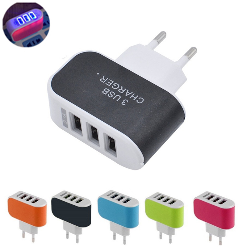 NEW 3 Ports USB Charger 3A Portable Mobile Phone Chargers Travel USB Wall Charger for iPhone Samsung LG Huawei Xiaomi