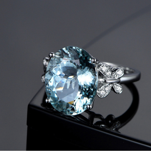 QCOOLJLY Hot 2018 Women Crystal Cubic Zirconia Silver Plated Crystal Blue Oval Butterfly Ring Bridal Wedding Jewelry