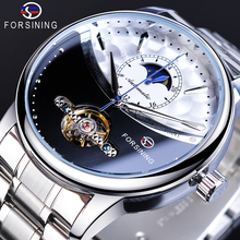 Forsining Brand Male Watches Casual Automatic Moonphase Half Dial Self-Wind Mechanical Stainless Steel Strap Dress Wristwatches forsining 2017 men watches gold white stainless steel watches automatic mechanical self wind tourbillion fashion wristwatches