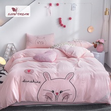 SlowDream Pink Girl Bedding Set Cartoon Rabbit Bedspread Decor Bedroom Bed Linens Cotton Flat Sheet Adult Double Duvet Cover