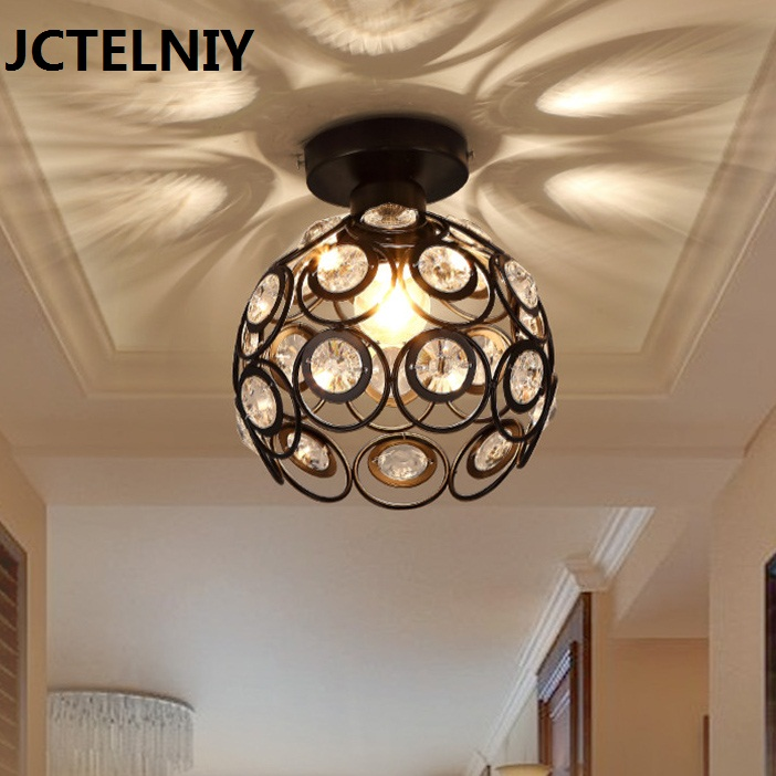 Luxury Hallway LED Ceiling Light With Glass Lampshade K9 Crystal Decorative Surface Mounted Lamp for Living Room
