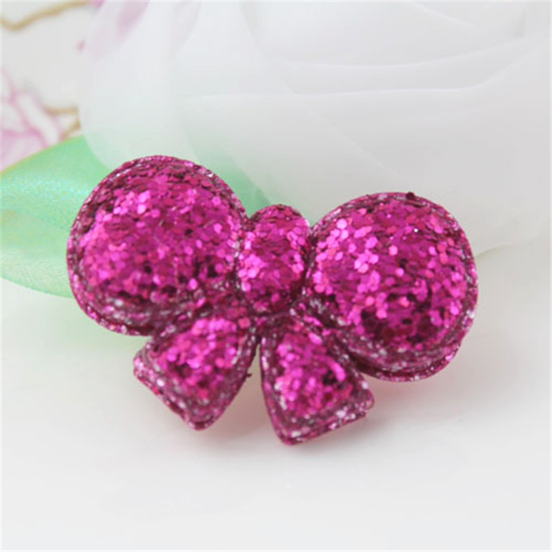 New Arrival 30PCS Glitter Hot Pink Bows Button Sticker Patch Christmas Hair Jewelry Decoration 2 Layers Handmade Craft for DIY