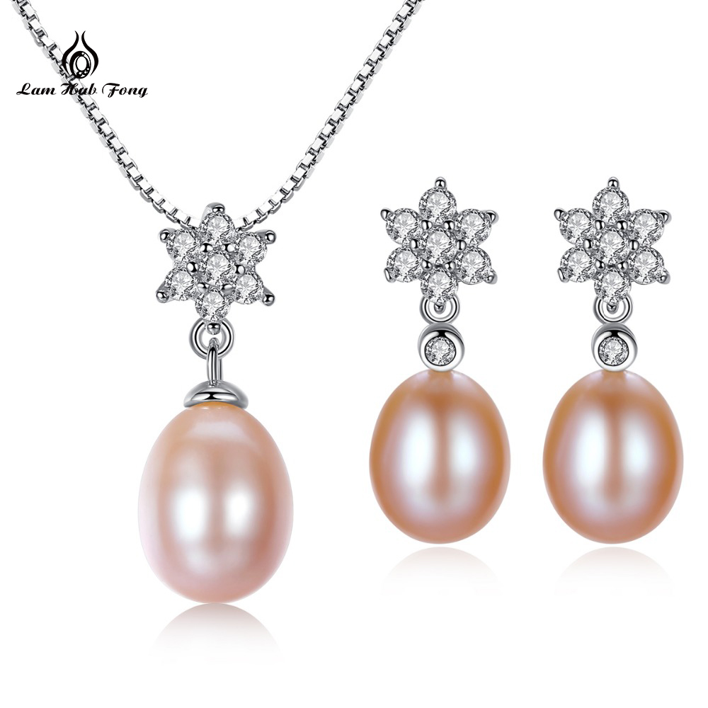 Natural Pearl Jewelry Sets 925 Sterling Silver Pendant Earrings Real Fresh Water Jewelry Wedding Party Wholesale Free Shipping