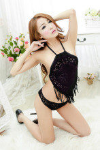 Women's erotic underwear Lace babydoll Tassel Sexy lace underwear Body stocking Erotic Women suit Sex clothes Blue Black Purple