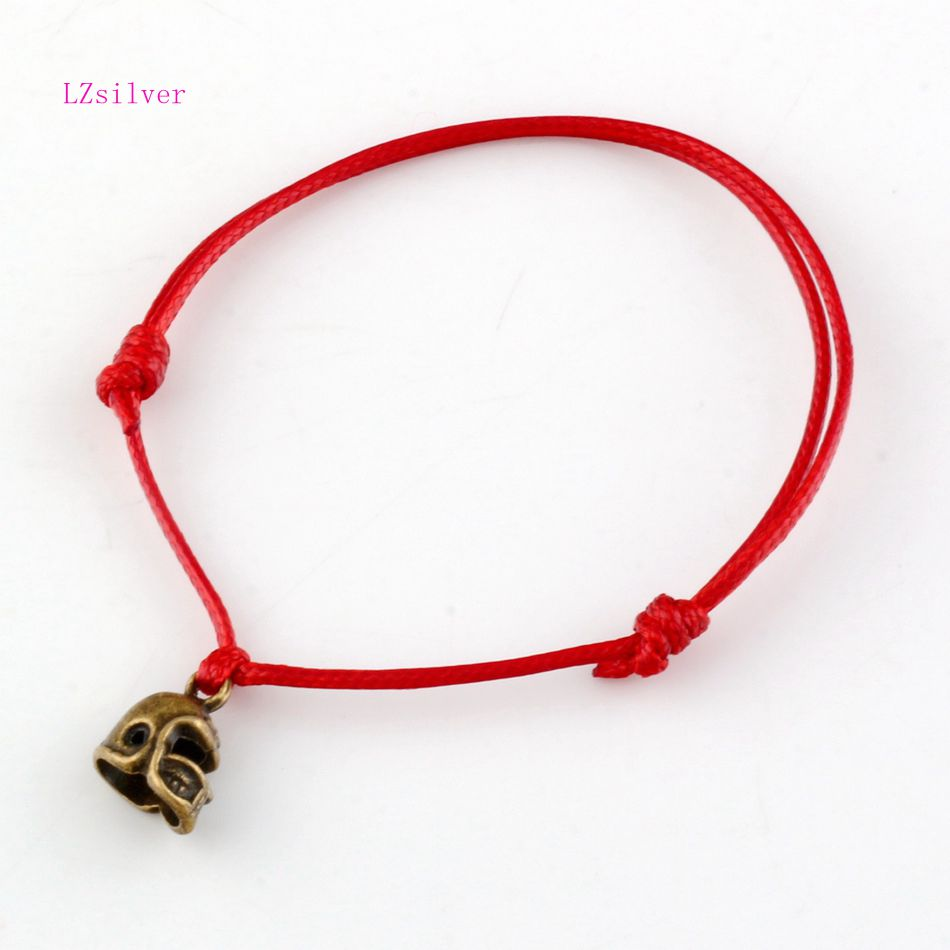 20 Pcs Antique Bronze Alloy 3D Small Football Helmet Charms Red String Good Luck Adjustable Bracelets B-27