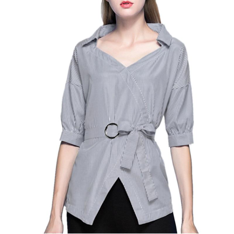 2018 Women Blouses & Shirts summer elegant striped pleated shirts lantern sleeve turn down collar blouse ladies casual top AB300