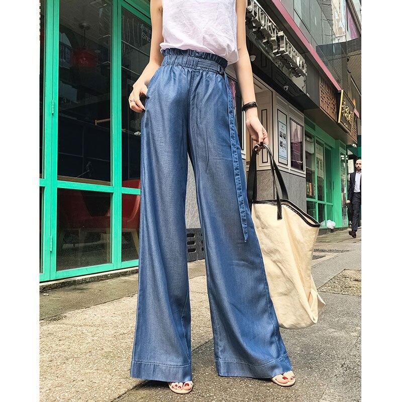Women Jeans 2019 Summer New High Waist Tensi Wide Leg Jeans Women Loose Fall Ice Silk Casual Pants Thin Section Long Belt Jeans