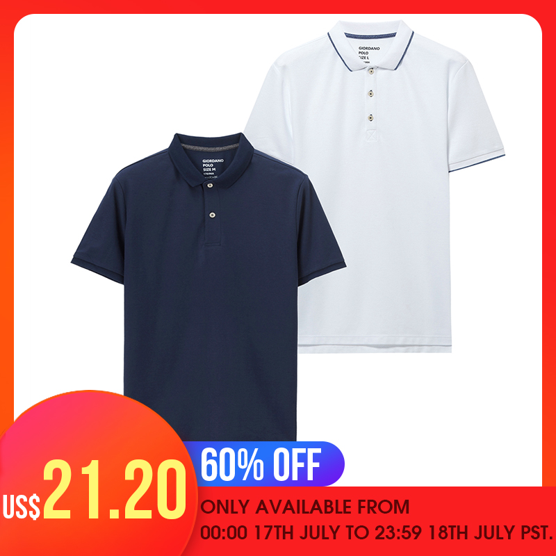 Giordano Men   Polo   Shirt 2-Pack Pique Slim Mens   Polos   Button Placket Short Sleeve   Polo   Shirt Homme De Marque Solid Summer
