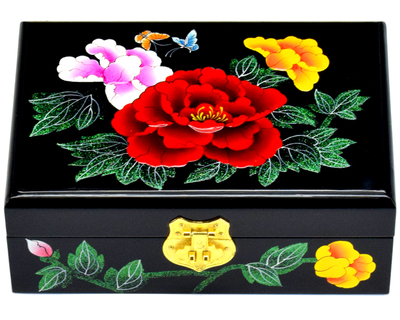Us 39 64 35 Off New Chinese Handmade Clic Wooden Lacquer Peony Jewelry Box 2 Layers In Packaging Display From Accessories