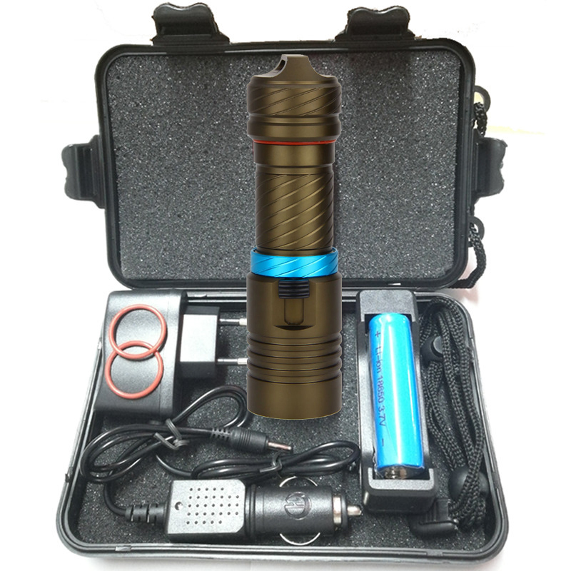 купить 5000LM CREE XM-L2 LED Waterproof Flashlight Light 100m Underwater Diving Flash+DC Charger+AC Charger+Car Charger+18650 battery недорого