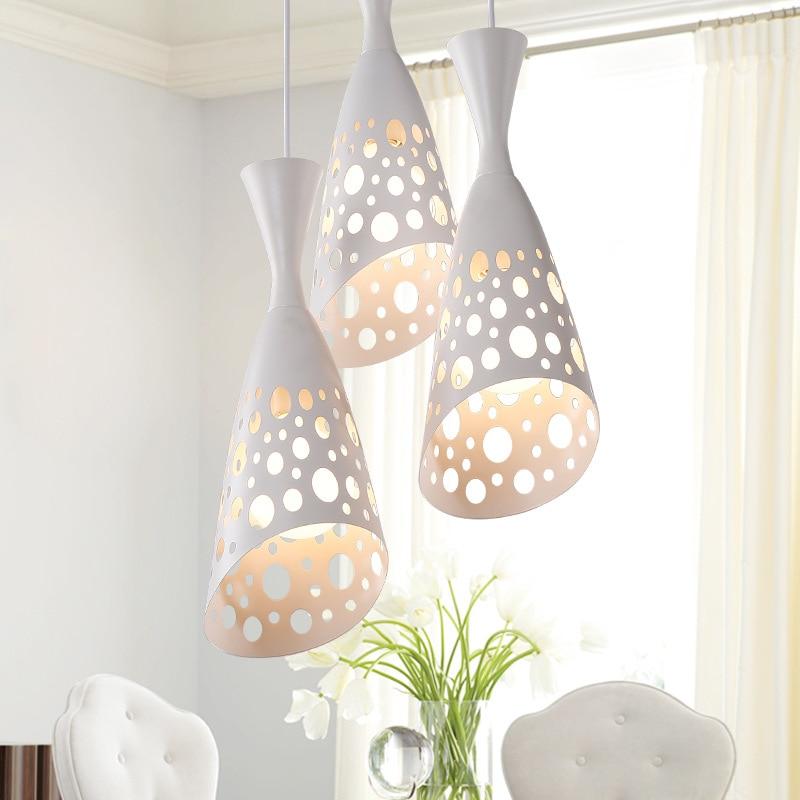 ФОТО The restaurant Pendant Lights with three head creative  minimalist romantic new white hollow iron bar dining room ZA ZA