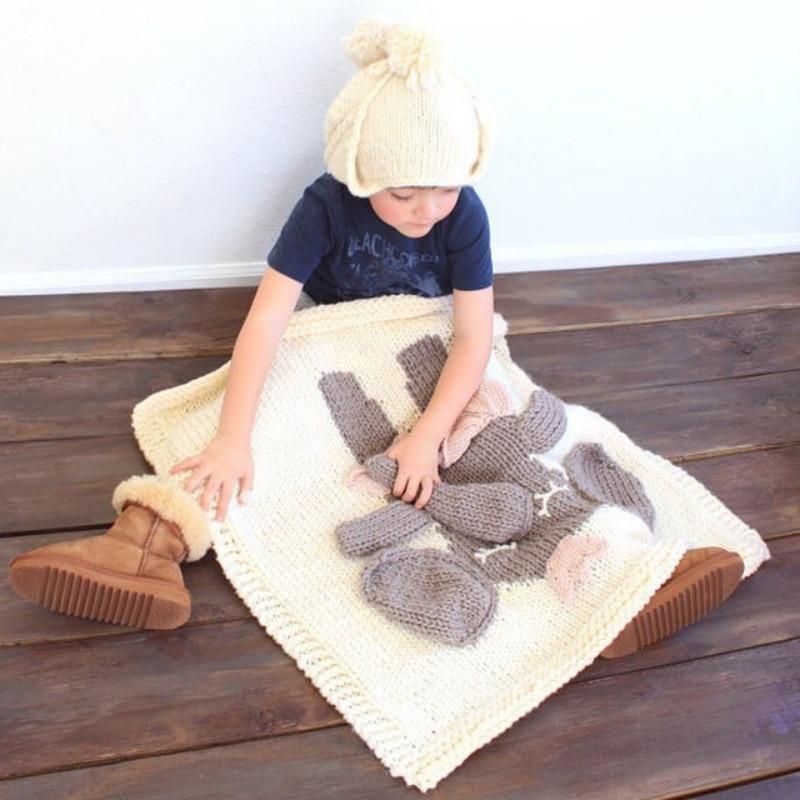 ФОТО Handmade knitted Baby Cartoon Animal Blanket Sofa Carriage Pram Stroller Covers Kids lion bear Design Quilts Bedding Swaddle
