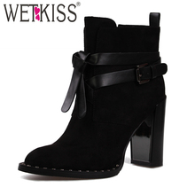 WETKISS Winter Flock Boots Women Warm bota feminina Ankle Boots Motorcycle Buckle Strap Rivet Shoes Woman High Thick Heel Boots