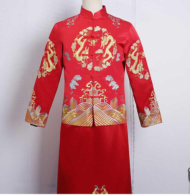 花婿の結婚式のトーストの衣装男性赤チャイナ中国風新郎ドレスジャケットロングドレス伝統的な中国袍メンズ