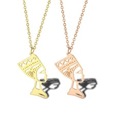 Antique Gold Nefertiti Necklace Queen of Egypt Pendant Necklaces Egyptian Jewelry In Stainless Steel Best Valentine Gift